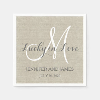 Lucky in Love Rustic Wedding Paper Napkins Standard Cocktail Napkin