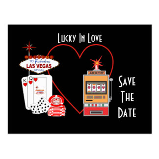Lucky in Love Save The Date Postcard