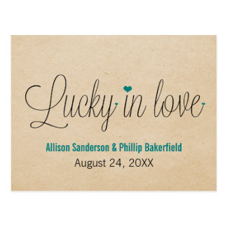 Lucky in Love Save the Date Postcard, Teal Postcard