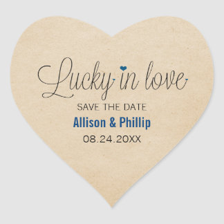 Lucky in Love Save the Date Stickers, Blue Heart Sticker