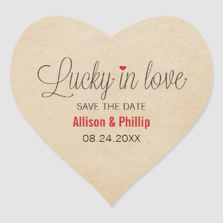 Lucky in Love Save the Date Stickers, Red Heart Sticker