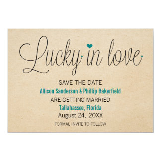 Lucky in Love Save the Date, Teal Card