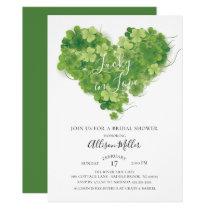 Lucky in Love Shamrock Heart Bridal Shower Card