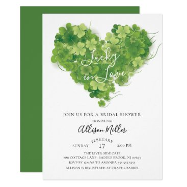 Valentines Themed Lucky in Love Shamrock Heart Bridal Shower Card
