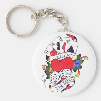 LUCKY IN LOVE TATTOO KEYCHAIN