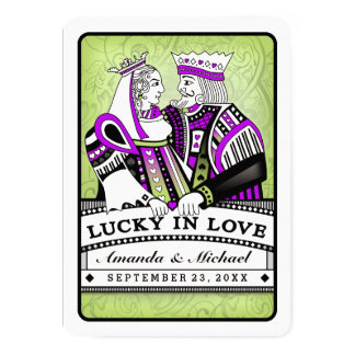 Lucky in Love Together with Families Wedding 5x7 Paper Invitation Card