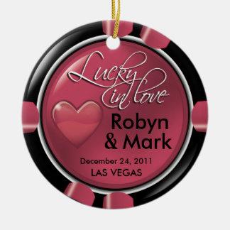 Lucky in Love Vegas Newlyweds Casino Chip Ceramic Ornament