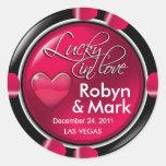 Lucky in Love Vegas Newlyweds Casino Chip Classic Round Sticker