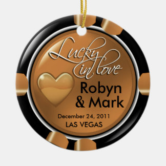 Lucky in Love Vegas Newlyweds Casino Chip Ornaments