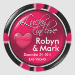 Lucky in Love Vegas Newlyweds Casino Chip Stickers