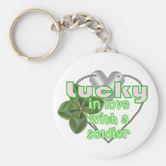 Lucky In Love with a Soldier! Basic Round Button Keychain