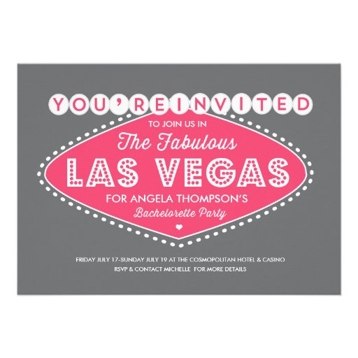 Personalized las vegas party invitations custominvitations4u lucky in pink bachelorette party invitation stopboris Choice Image