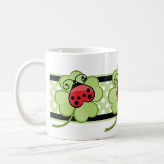 Lucky Irish 4 Leaf Clover and Red Ladybug Ladybird Coffee Mug