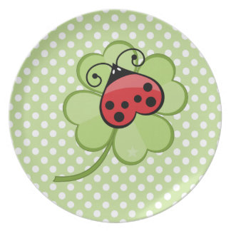 Lucky Irish 4 Leaf Clover and Red Ladybug Ladybird Dinner Plate