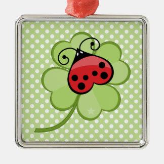 Lucky Irish 4 Leaf Clover and Red Ladybug Ladybird Ornaments
