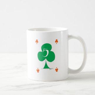Lucky Irish 5 of Clubs, tony fernandes Coffee Mug