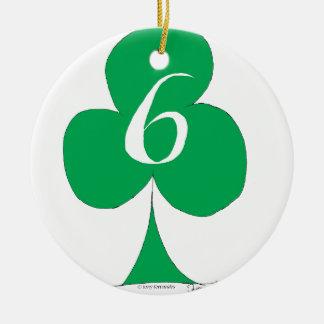 Lucky Irish 6 of Clubs, tony fernandes Ceramic Ornament