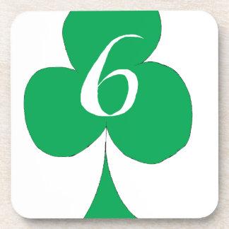 Lucky Irish 6 of Clubs, tony fernandes Drink Coaster