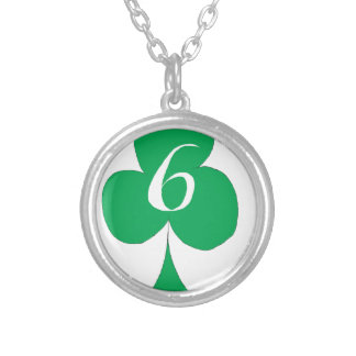 Lucky Irish 6 of Clubs, tony fernandes Silver Plated Necklace