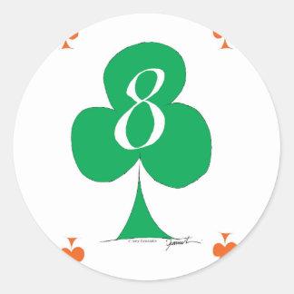 Lucky Irish 8 of Clubs, tony fernandes Classic Round Sticker