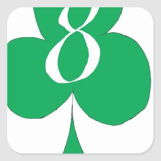 Lucky Irish 8 of Clubs, tony fernandes Square Sticker