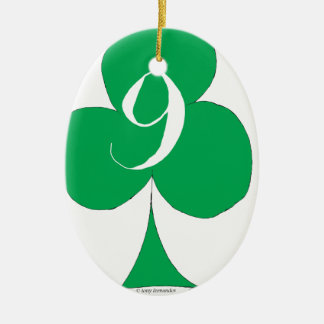 Lucky Irish 9 of Clubs, tony fernandes Ceramic Ornament