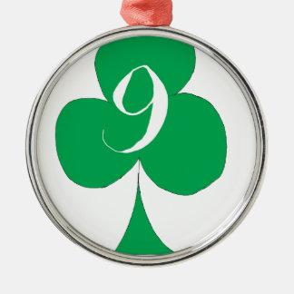 Lucky Irish 9 of Clubs, tony fernandes Metal Ornament