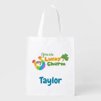 Lucky Irish Clover and horseshoe Reusable Grocery Bag