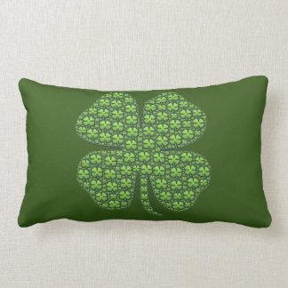 Lucky Irish Clover Dark Green Lumbar Pillow