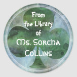 LUCKY IRISH CLOVER - From the Library of... Round Stickers