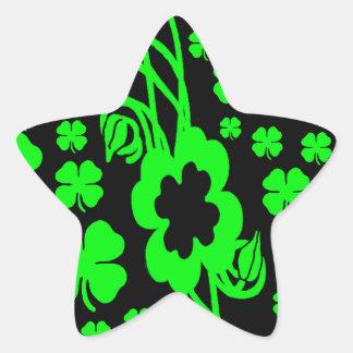 Lucky Irish four leaf clovers Star Sticker