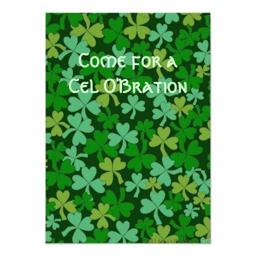 Lucky Irish Green Shamrocks Custom 5x7 Paper Invitation Card