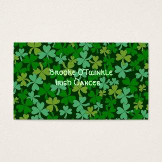 Lucky Irish Green Shamrocks Custom Business Card