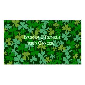 Lucky Irish Green Shamrocks Custom Double-Sided Standard Business Cards (Pack Of 100)