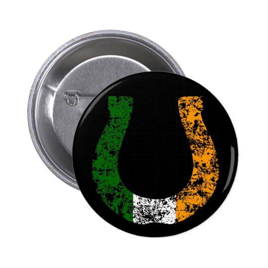 lucky irish horseshoe pinback button