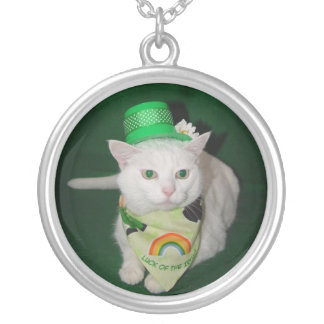 Lucky Irish Kitty Silver Plated Necklace