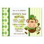 "Lucky Irish Monkey Birthday Invitation 5"" X 7"" Invitation Card"