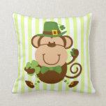 Lucky Irish Monkey Throw Pillow