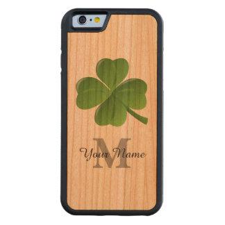 Lucky Irish shamrock clover monogrammed Carved Cherry iPhone 6 Bumper Case