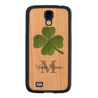 Lucky Irish shamrock clover monogrammed Carved® Cherry Galaxy S4 Case