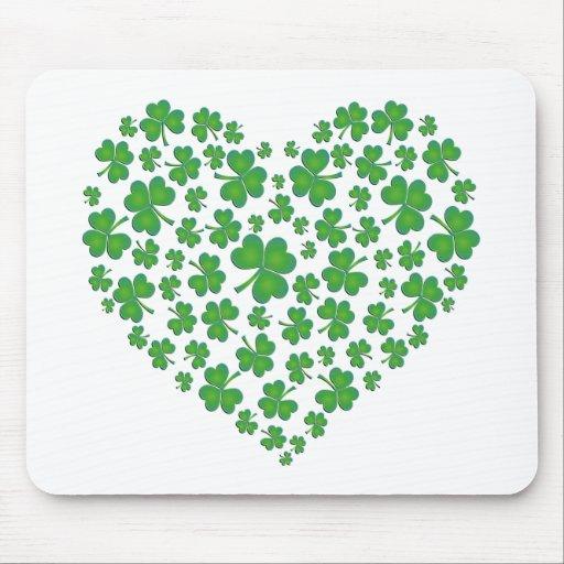 Lucky Irish Shamrock Heart Mouse Pad