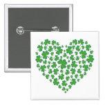 Lucky Irish Shamrock Heart Pinback Button