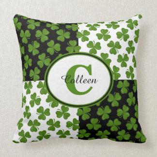 Lucky Irish Shamrocks Monogram Throw Pillow