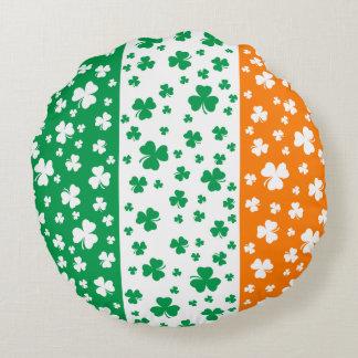 Lucky Irish Shamrocks Round Pillow