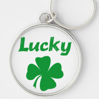 Lucky Irish Silver-Colored Round Keychain