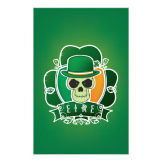 Lucky Irish skull Custom Stationery