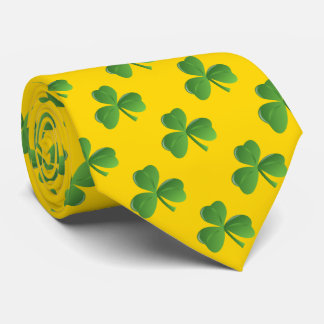 Lucky Irish Three Leaf Shamrock Gold Color Neck Tie