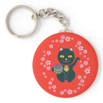 Lucky Japanese Beckoning Cat Key Chain