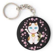 Lucky Japanese Beckoning Maneki Neko Cat Keychain