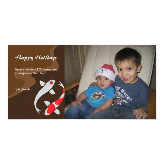 Lucky Japanese Koi Holiday Christmas Photo Card